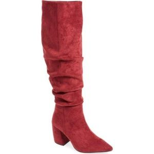 Red Final Slouch Over the Knee Boot, Size 6